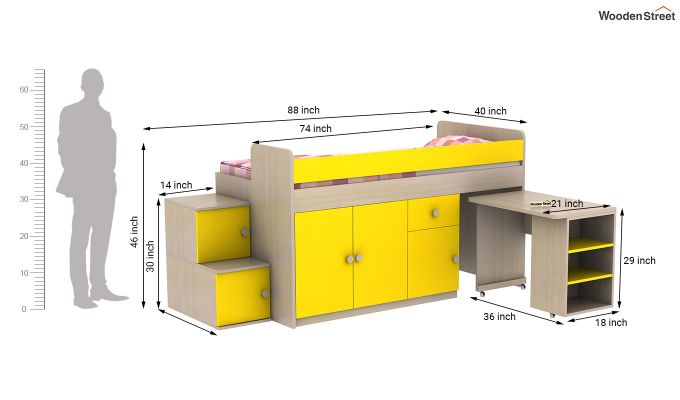 Grace Bunk Bed (Marigold Yellow)-14