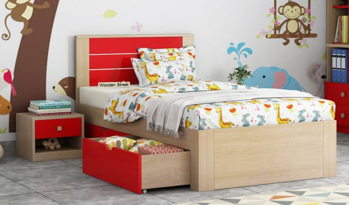 Marina Kids Bed With Storage (Cardinal Red)-1