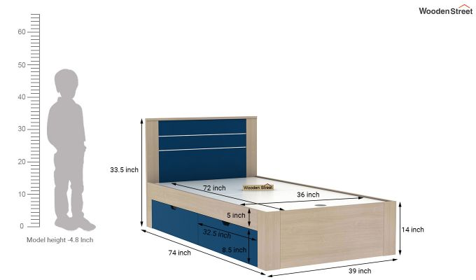Marina Kids Bed With Storage (Electric Blue)-6