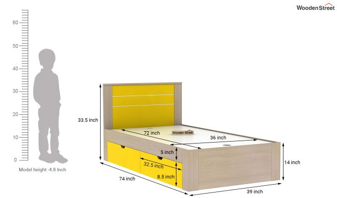 Marina Kids Bed With Storage (Marigold Yellow)-6