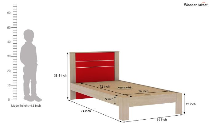 Marina Kids Bed Without Storage (Cardinal Red)-7