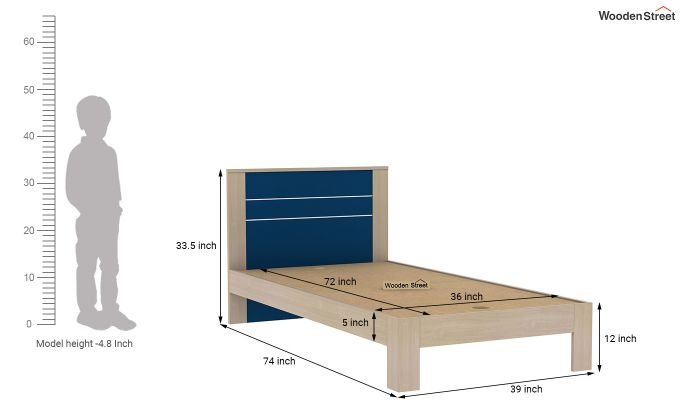 Marina Kids Bed Without Storage (Electric Blue)-7