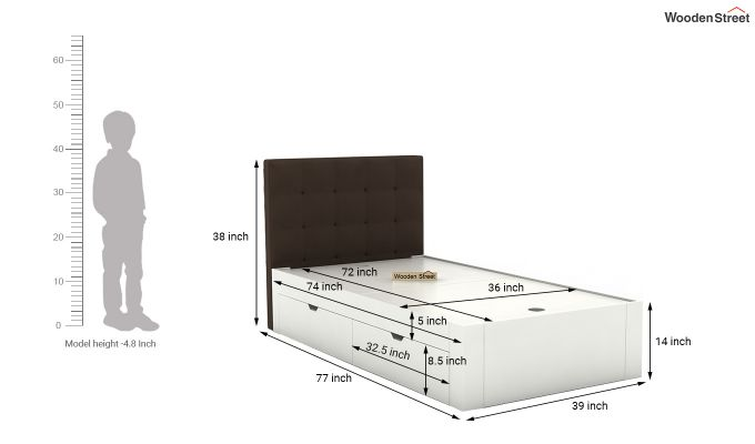 Wagner Kids Bed With Storage (Classic Brown)-7