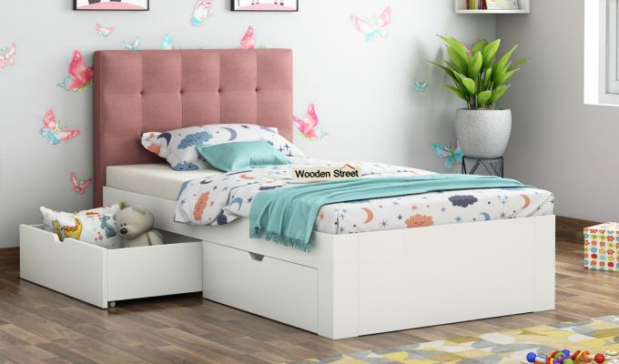 Wagner Kids Bed With Storage (Salmon Pink)-1