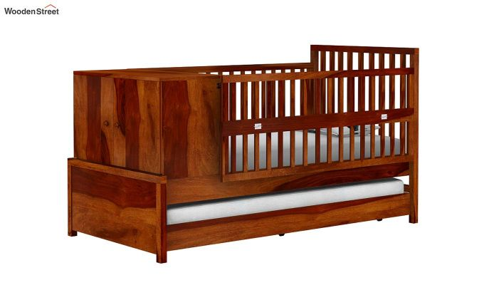 Carson Kids Trundle Bed With Crib (Honey Finish)-2