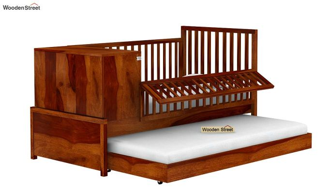Carson Kids Trundle Bed With Crib (Honey Finish)-4