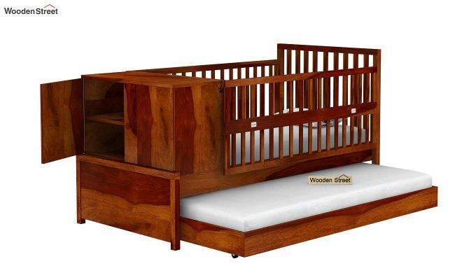 Carson Kids Trundle Bed With Crib (Honey Finish)-5