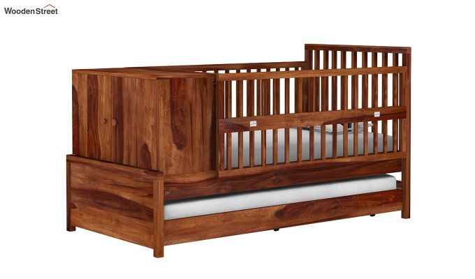 Carson Kids Trundle Bed With Crib (Teak Finish)-2
