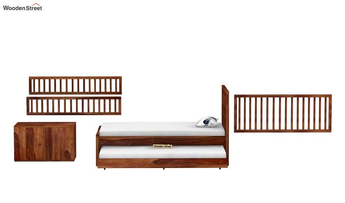 Carson Kids Trundle Bed With Crib (Teak Finish)-9