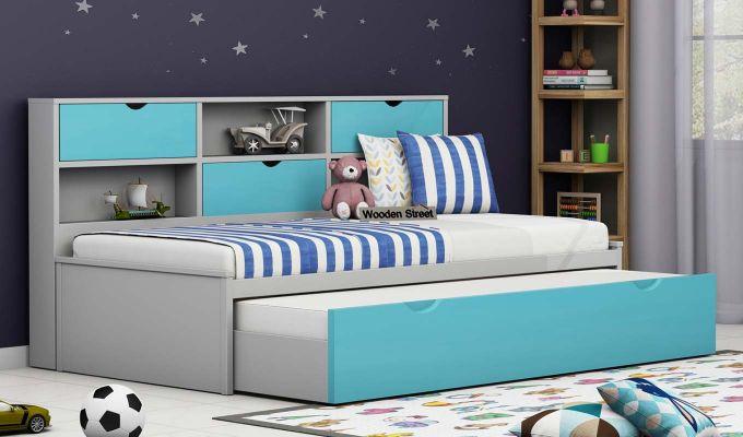 Chris Kids Trundle Bed (Grey & Blue)-1