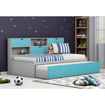 Kids Trundle Bed With Storage Drawer in blue and grey