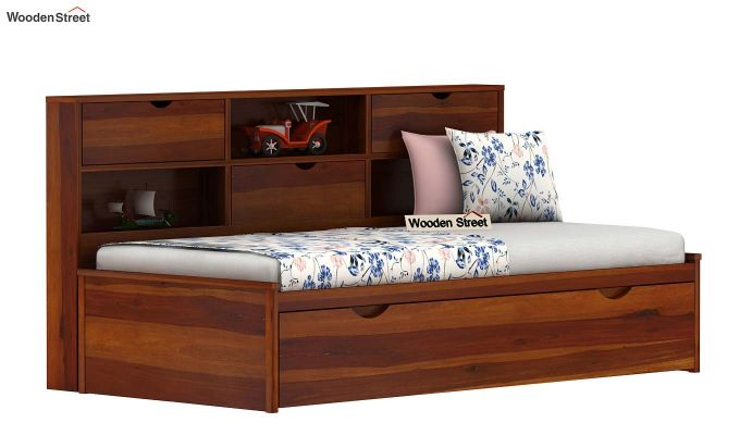 Chris Kids Trundle Bed (Honey Finish)-1