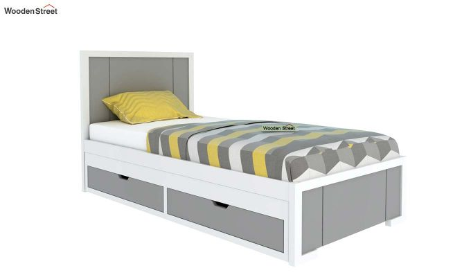 Gary Kids Trundle Bed With Storage (Grey & White)-2