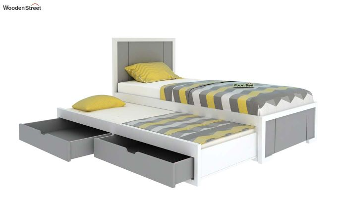 Gary Kids Trundle Bed With Storage (Grey & White)-4