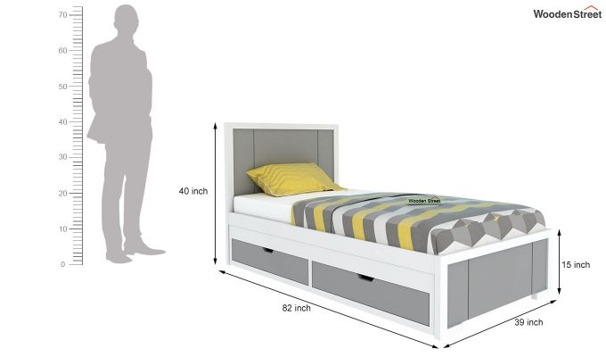 Gary Kids Trundle Bed With Storage (Grey & White)-5