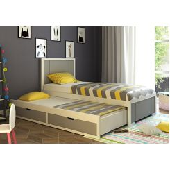 Gary Kids Trundle Bed With Storage (Grey & White)