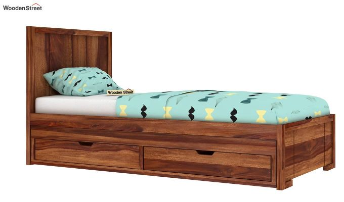 Gary Kids Trundle Bed With Storage (Teak Finish)-1