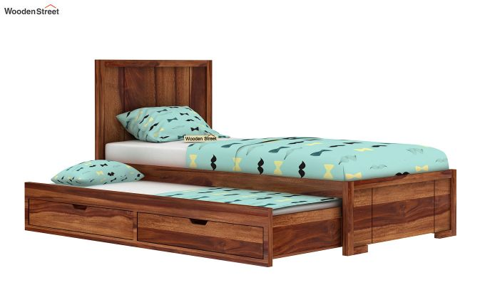 Gary Kids Trundle Bed With Storage (Teak Finish)-3