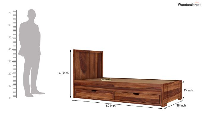 Gary Kids Trundle Bed With Storage (Teak Finish)-6