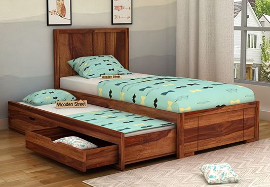 Wooden Kids Trundle Bed With Storage Underneath