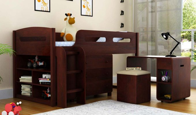Lucifer Kids Bed With Storage (Walnut Finish)-1