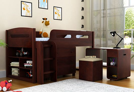 solid wood kids bed with storage online