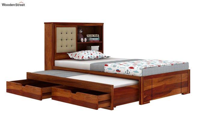 Nova Kids Trundle Bed With Storage (Honey Finish)-6