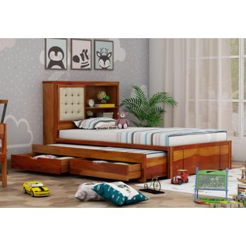 Single Bed, kids trundle bed with storage for toddler