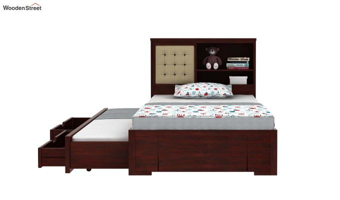 Nova Kids Trundle Bed With Storage (Mahogany Finish)-5