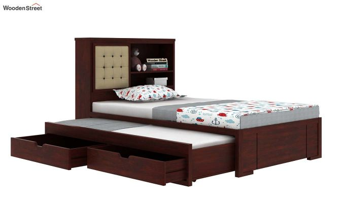 Nova Kids Trundle Bed With Storage (Mahogany Finish)-6