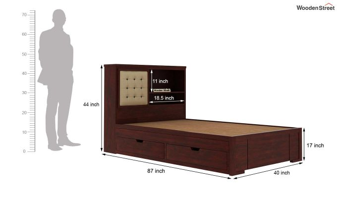 Nova Kids Trundle Bed With Storage (Mahogany Finish)-8