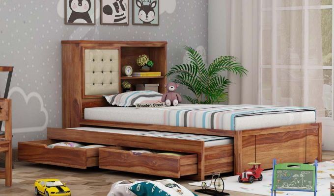 Nova Kids Trundle Bed With Storage (Teak Finish)-1
