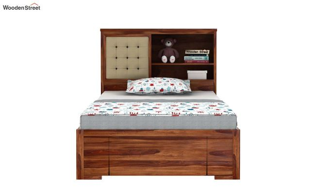 Nova Kids Trundle Bed With Storage (Teak Finish)-3