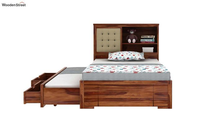 Nova Kids Trundle Bed With Storage (Teak Finish)-5
