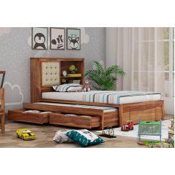 Nova Kids Trundle Bed With Storage (Teak Finish)