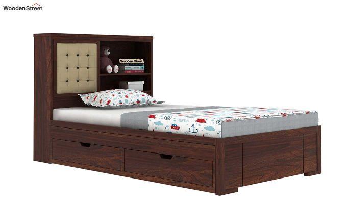 Nova Kids Trundle Bed With Storage (Walnut Finish)-2