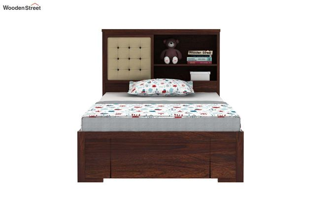 Nova Kids Trundle Bed With Storage (Walnut Finish)-3