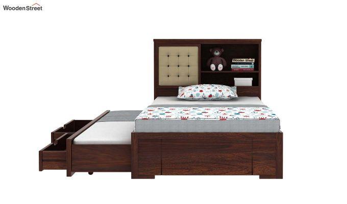 Nova Kids Trundle Bed With Storage (Walnut Finish)-5