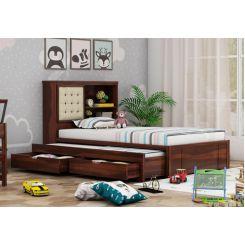 Nova Kids Trundle Bed With Storage (Walnut Finish)