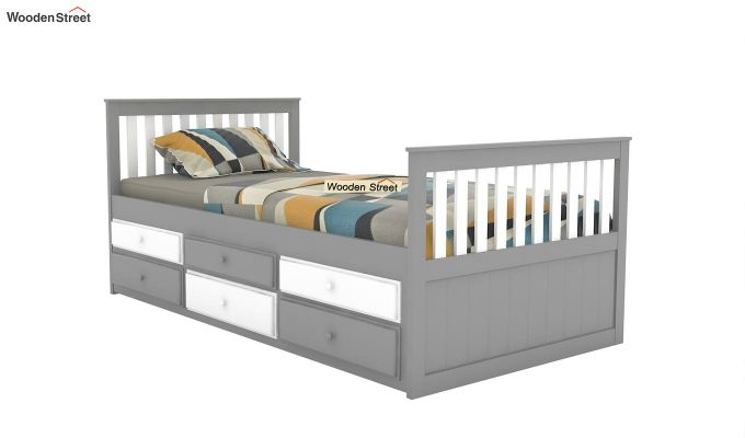 Pear Kids Trundle Bed With Storage (White & Grey)-2