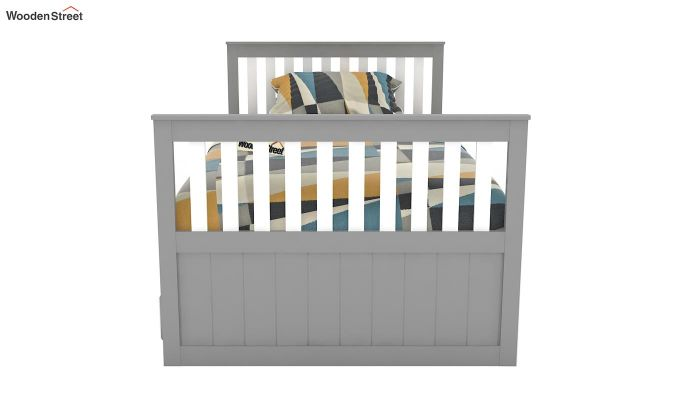 Pear Kids Trundle Bed With Storage (White & Grey)-3