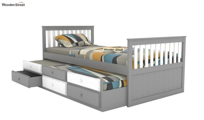 Pear Kids Trundle Bed With Storage (White & Grey)-4