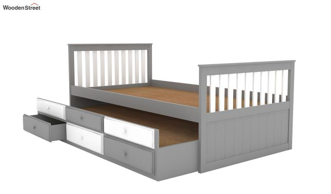 Pear Kids Trundle Bed With Storage (White & Grey)-5