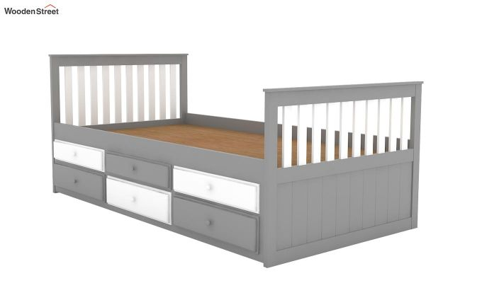 Pear Kids Trundle Bed With Storage (White & Grey)-6