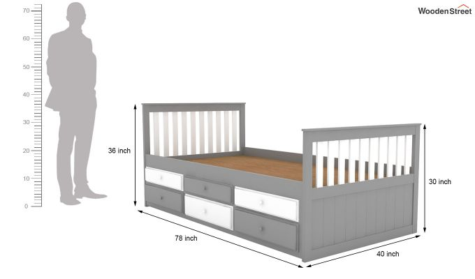 Pear Kids Trundle Bed With Storage (White & Grey)-7