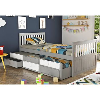 Kids bed with trundle and storage drawers