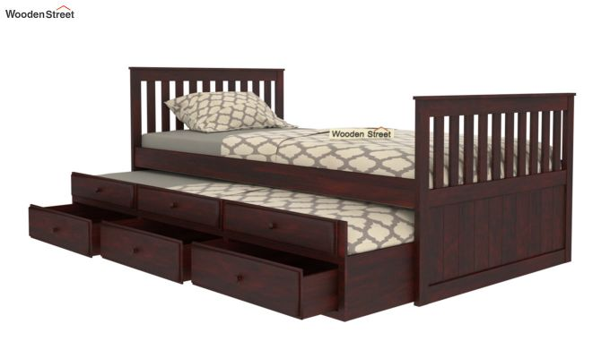 Pear Kids Trundle Bed With Storage (Mahogany Finish)-2