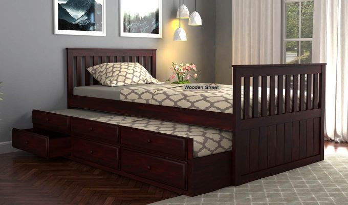 Pear Kids Trundle Bed With Storage (Mahogany Finish)-1