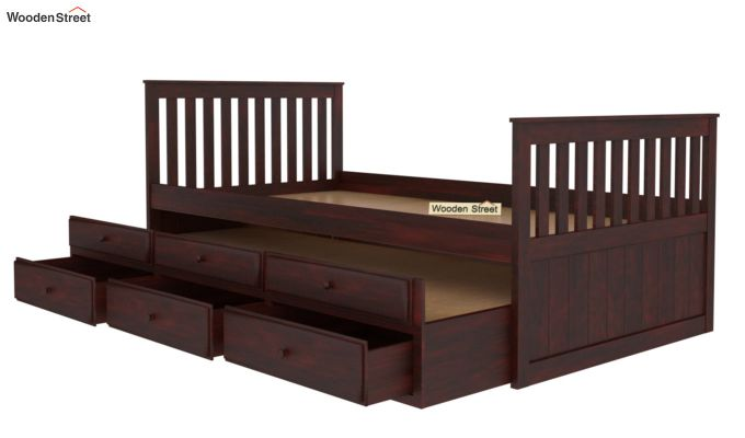 Pear Kids Trundle Bed With Storage (Mahogany Finish)-3