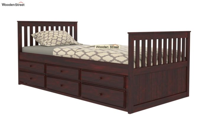 Pear Kids Trundle Bed With Storage (Mahogany Finish)-4